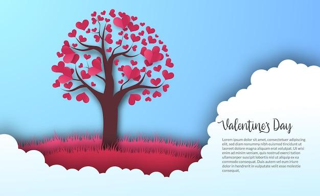 Modelo de banner de cartão de dia dos namorados com coração de amor