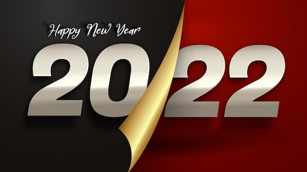 Modelo de banner de cartão de felicitações de luxo de feliz ano novo 2022