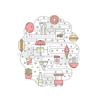 Modelo de banner de cartaz de comida de rua de arte fina linha