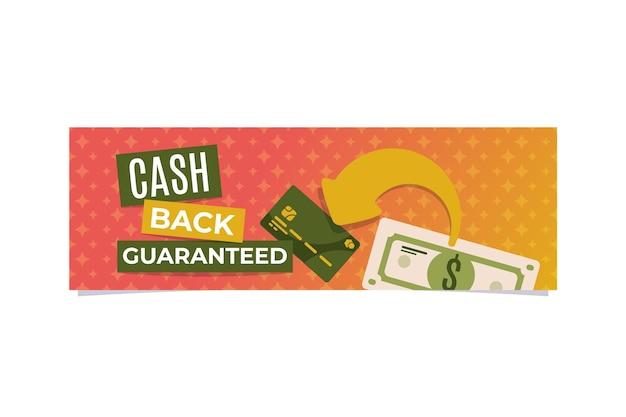 Modelo de banner de cashback com ilustrações