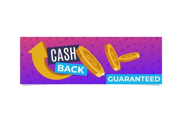 Modelo de banner de cashback ilustrado