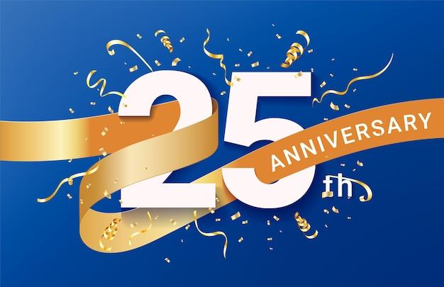 Modelo de banner de celebração do 25º aniversário. números grandes com confete de brilhos dourados e fita de brilhos.