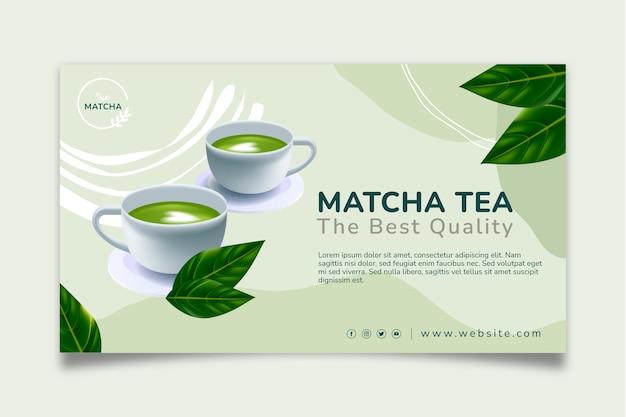 Modelo de banner de chá matcha saboroso