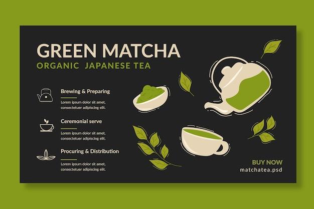 Modelo de banner de chá matcha