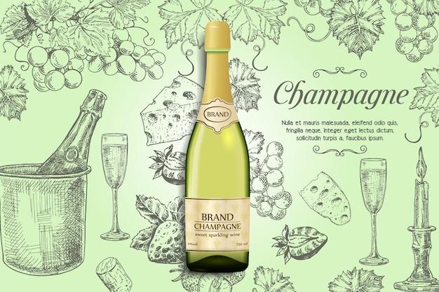 Modelo de banner de champanhe