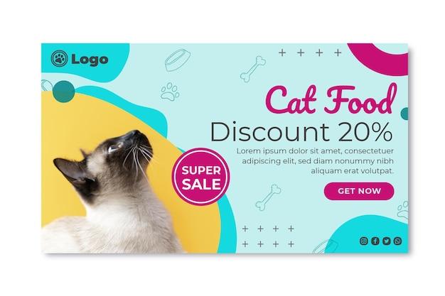 Modelo de banner de comida de gato