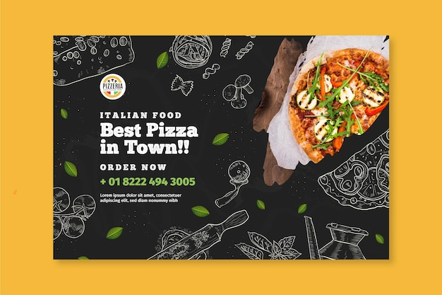 Modelo de banner de comida italiana