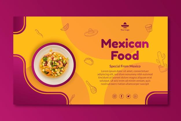 Modelo de banner de comida mexicana deliciosa