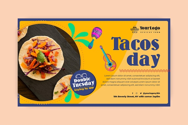 Modelo de banner de comida mexicana do tacos day