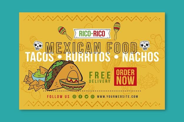 Modelo de banner de comida mexicana