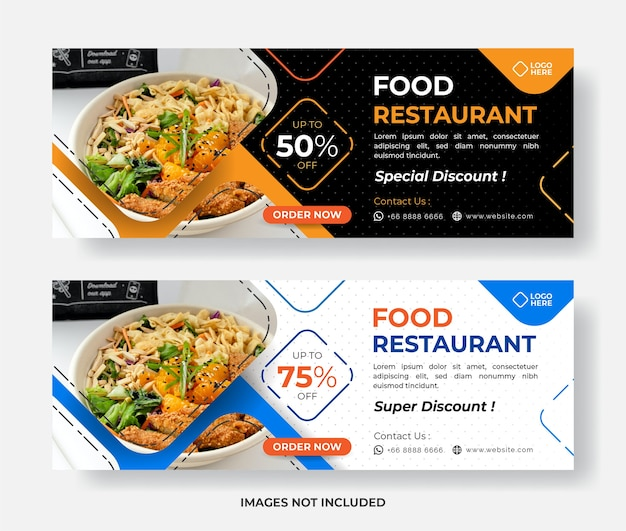 Modelo de banner de comida, modelo de banner de restaurante, banner de promoção de comida
