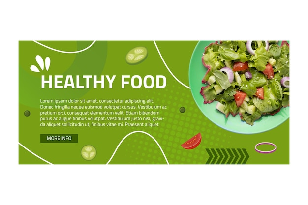 Modelo de banner de comida saudável com foto