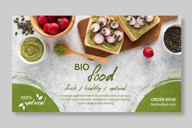 Modelo de banner de comida saudável