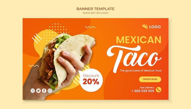 Modelo de banner de comida taco para restaurante de comida mexicana Vetor Premium
