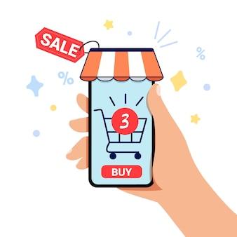 Modelo de banner de compra móvel frete grátis venda e descontos conta digital feliz dia de compras
