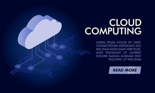 Modelo de banner de computação em nuvem.