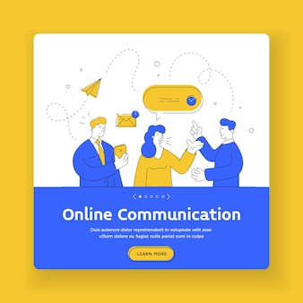 Modelo de banner de comunicação online. ilustração de arte em linha plana de homens e mulheres contemporâneos usando smartphone para enviar e ler mensagens durante a comunicação online