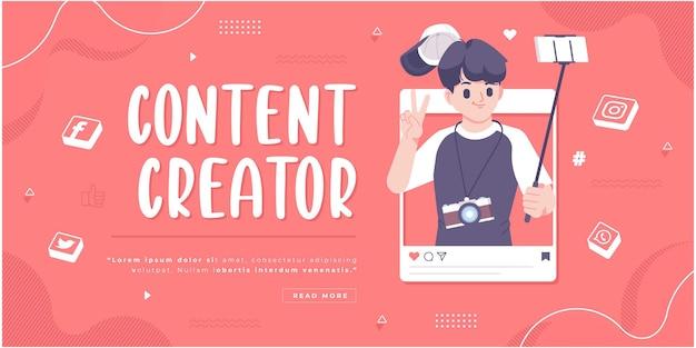 Modelo de banner de conceito de criador de conteúdo de mídia social