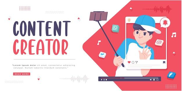 Modelo de banner de conceito de criador de conteúdo