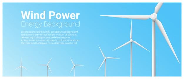 Modelo de banner de conceito de energia com turbina eólica