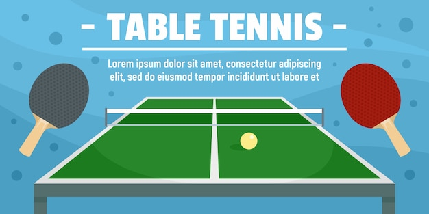 Modelo de banner de conceito de esporte de tênis de mesa, estilo simples