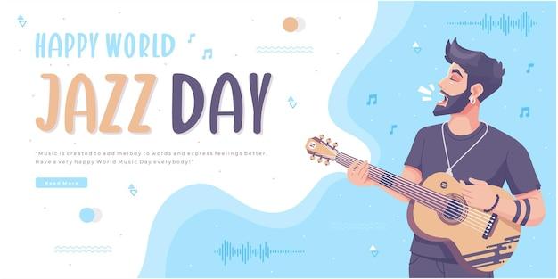 Modelo de banner de conceito de feliz dia do jazz