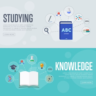 Modelo de banner de conceito de infografia de educação