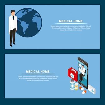 Modelo de banner de conceito de saúde digital