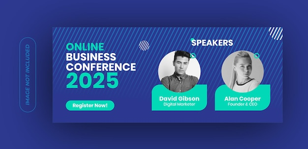 Modelo de banner de conferência de negócios online