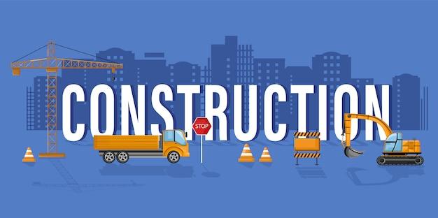 Modelo de banner de construção com trabalhadores de escritório e arquitetos desenvolver equipe. projetos de brochura on-line