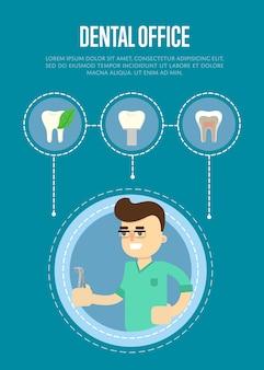Modelo de banner de consultório odontológico com dentista masculino