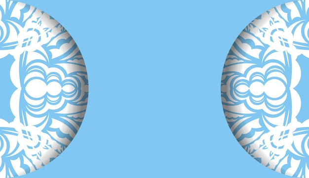 Modelo de banner de cor azul com ornamento branco abstrato para design de logotipo