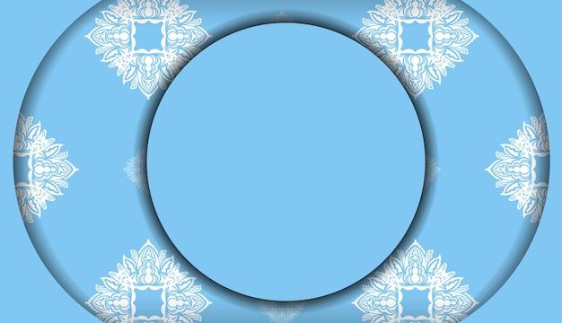Modelo de banner de cor azul com ornamento mandala branco para design de logotipo