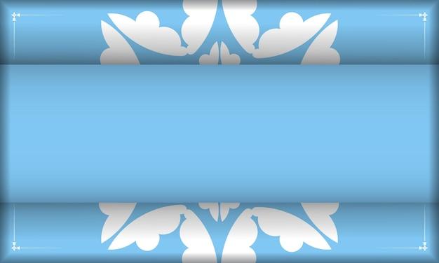 Modelo de banner de cor azul com padrão grego branco e coloque abaixo do texto