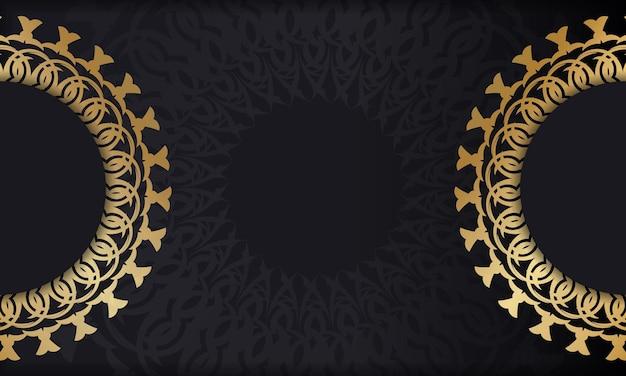 Modelo de banner de cor preta com ornamento de mandala de ouro