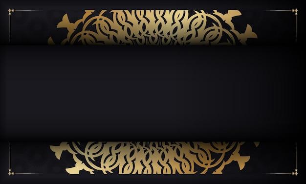 Modelo de banner de cor preta com padrão de mandala dourada