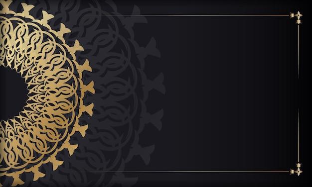 Modelo de banner de cor preta com padrão vintage dourado. para o seu design