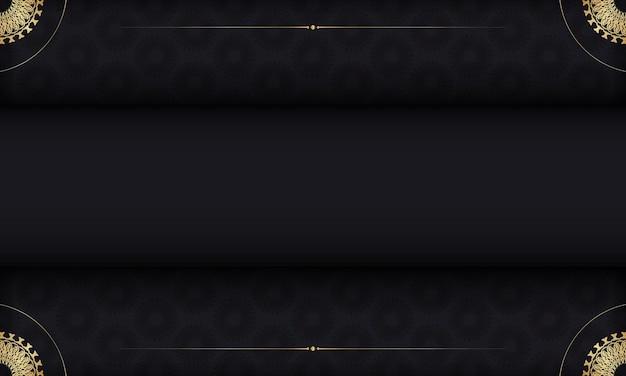 Modelo de banner de cor preta com padrão vintage
