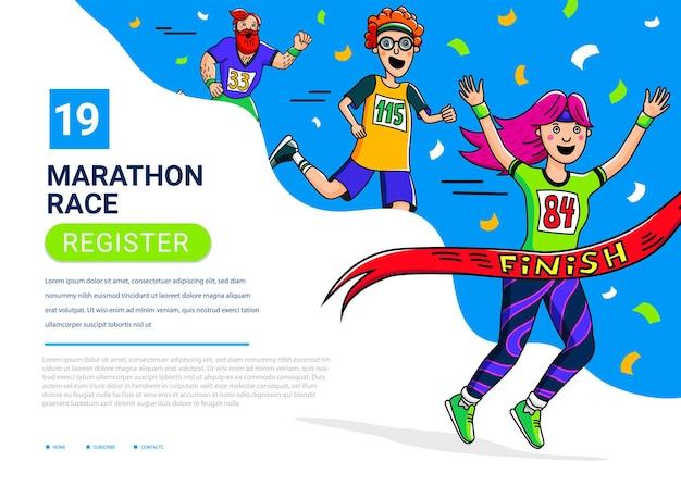 Modelo de banner de corrida de maratona