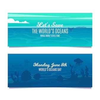 Modelo de banner de criaturas subaquáticas de design plano