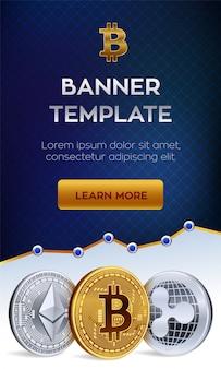 Modelo de banner de criptomoeda. bitcoin, ethereum, ripple moedas de ouro.