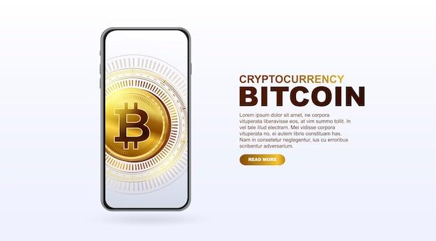 Modelo de banner de criptomoeda de dinheiro eletrônico bitcoin para um vetor de página da web