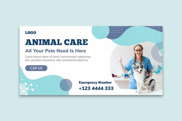 Modelo de banner de cuidado animal Vetor grátis