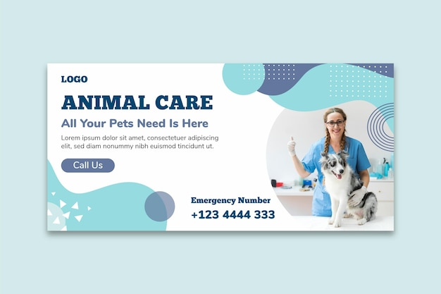 Modelo de banner de cuidado animal