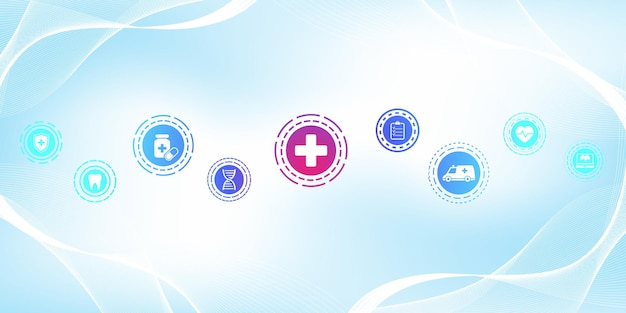 Modelo de banner de cuidados de saúde mínimos com ícones lisos. conceito de medicina de saúde. bandeira de farmácia de tecnologia de inovação médica. ilustração vetorial.
