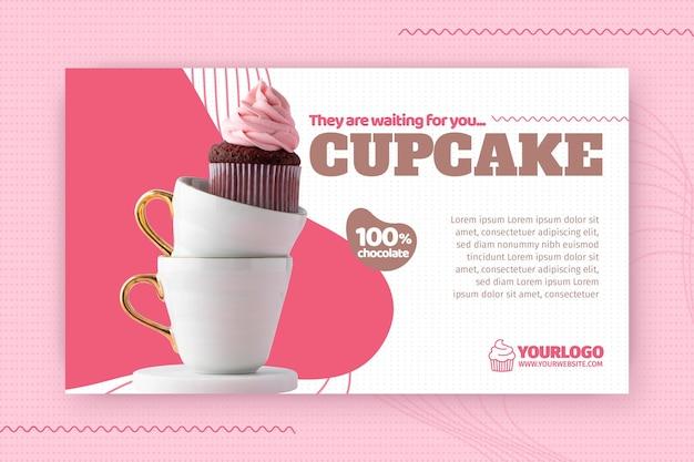 Modelo de banner de cupcake delicioso