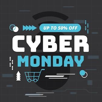 Modelo de banner de cyber segunda-feira de design plano