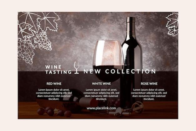 Modelo de banner de degustação de vinhos