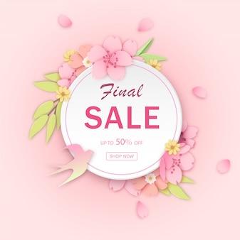 Modelo de banner de desconto de flor rosa