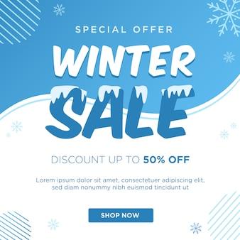 Modelo de banner de desconto de venda de inverno